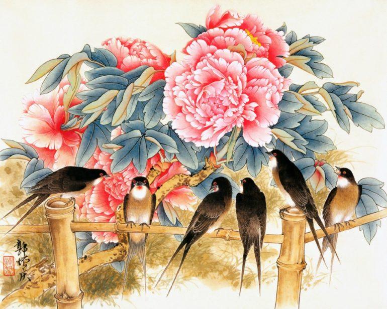 Картина птичек