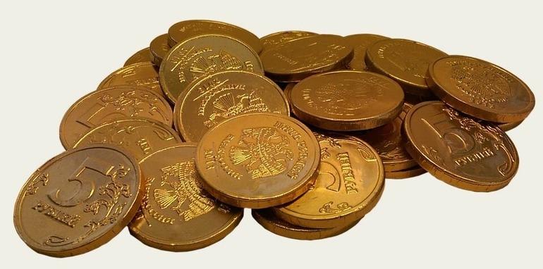 пять рублей в золотой фольге